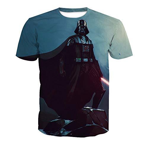 Ywfzzxs T-Shirt 3D Tops Mode-T-Shirts Unterhemden Kurzarm Unisex Neuheit Kostüm HD Anime Druck Weste Star Wars Darth Vader 3XL