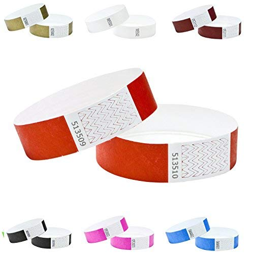 100er Pack Eintrittsbänder, Tyvek, 19mm,Farben wählen (Rot) -
