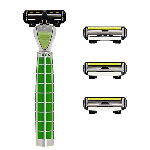 SHAVE-LAB Tres Emerald Fresh Handrasierer für Herren mit 4x P.4 Klingen zur Gesichtsrasur