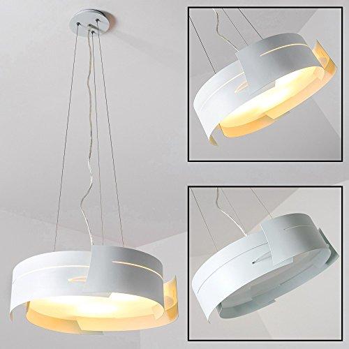Lampadario circolare bianco metallo design moderno