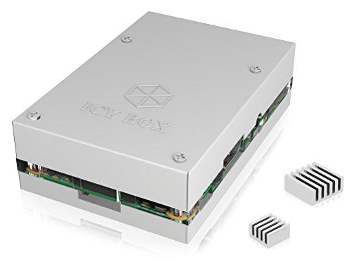 ICY BOX IB-RP101 Gehäuse für Raspberry Pi 2 und Raspberry Pi 3 Model B, Aluminium mit Acrylschicht, übereinander schraubbar, Kühlkörper, silber