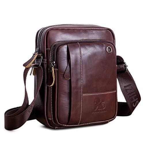 BAIGIO Bolso Bandolera Hombre de Cuero Bolso de Hombro Piel Pequeño Vintage Crossbody Bag Casual Marrón...