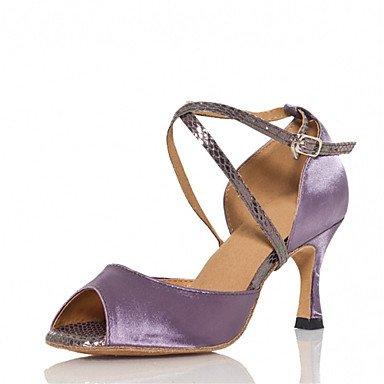 Silence @ pour femme Chaussures de danse latine/Jazz/Chaussures de swing/Salsa/Samba satiné Talon Sandales Vert/violet Green