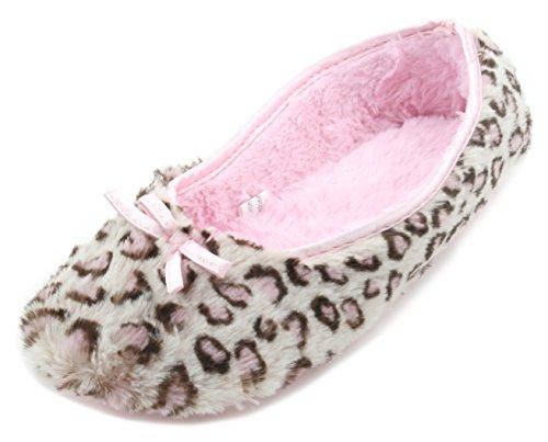 Slumberzzz Ladies Faux Fur Plush Leopard Print Ballet Slipper Pink 7-8 UK (Leopard Ballet Schuhe)