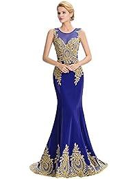 HUAN Vestido de Las Mujeres/Sirena/Trompeta con Cuello en V Corte Tren de Encaje/Vestidos de Novia de Tul/Vestido Largo de Noche…