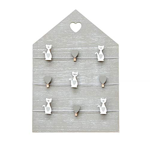 Cornice in legna, lavagna foto, lavagna messaggi, lavagna da parete a forma di casa, cornice con fermagli con gatti e cuori colore grigio, regalo per amante dei gatto misura 42 x 30 cm