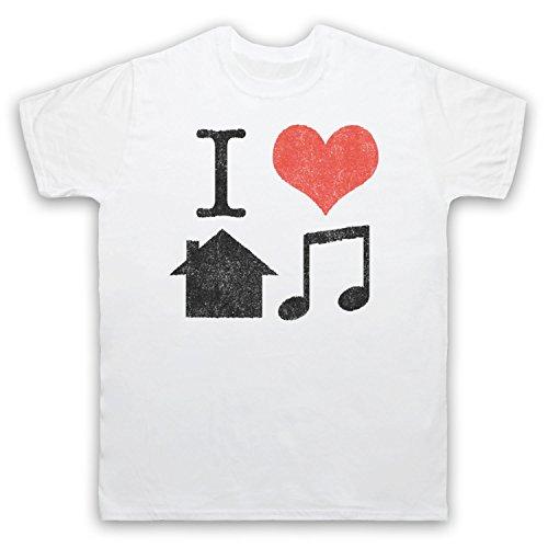 I Love House Music Slogan Herren T-Shirt Weis