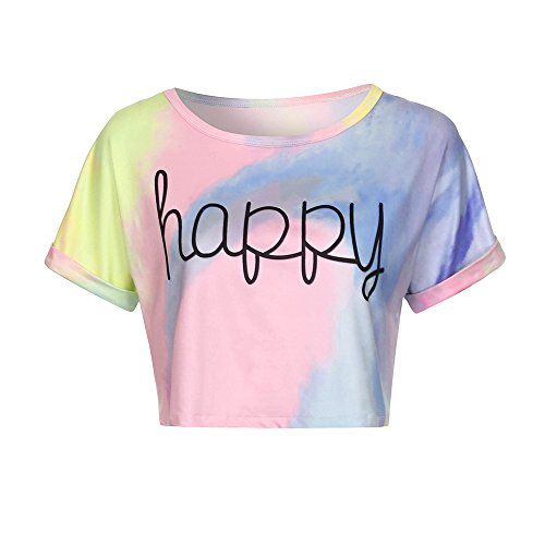 50fac478c89f51 TIMEMEAN Tops Mujer Gradient Letter Print Blouse Crop Short Sleeve Tops  Tank Casual T-Shirt