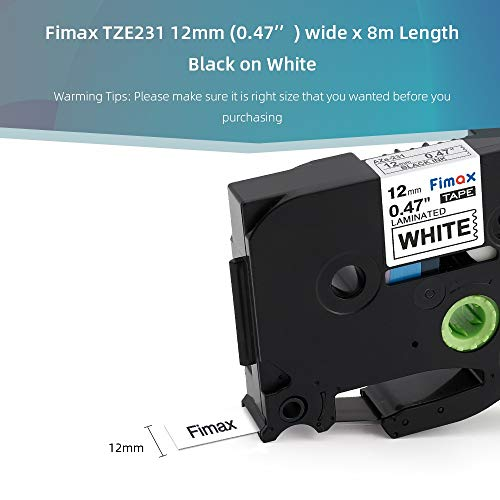 Nero su Bianco 3 Pz. Nastro Unistar Compatibile In sostituzione di Brother P Touch TZe-231 TZ231 Laminato 12mm x 8m Cassetta Tape per Brother PTouch PT-1000 H110 H107B H105 H100LB