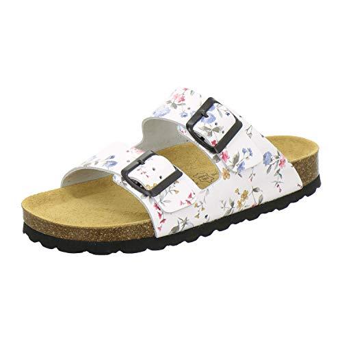 AFS-Schuhe 2100, Bequeme Damen Pantoletten echt Leder, praktische Arbeitsschuhe, Hausschuhe, Handmade in Germany Größe 38 EU Weiß (Weiss/Flower)