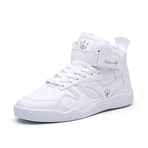 MUOU Schuhe Herren Mode Sneaker Flache Ferse Schuhe High Top Herren Freizeitschuhe Turnschuhe (43, Weiß) (Sneaker-speicher-fall)