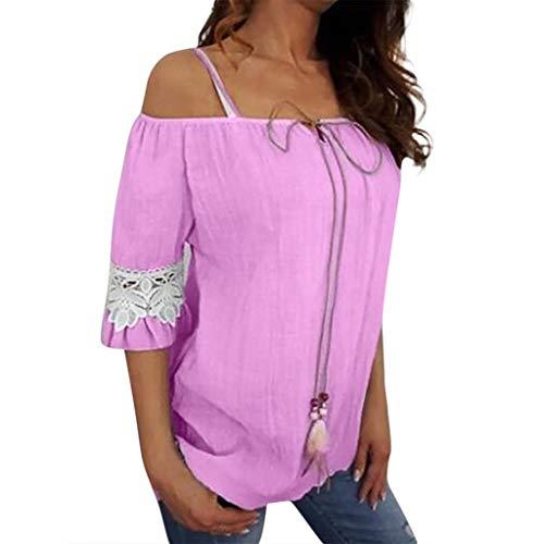 TWIFER Damen Schulterfrei Spitze Reine Farbe Plus Size Kurzarm Bluse Easy Top Shirt