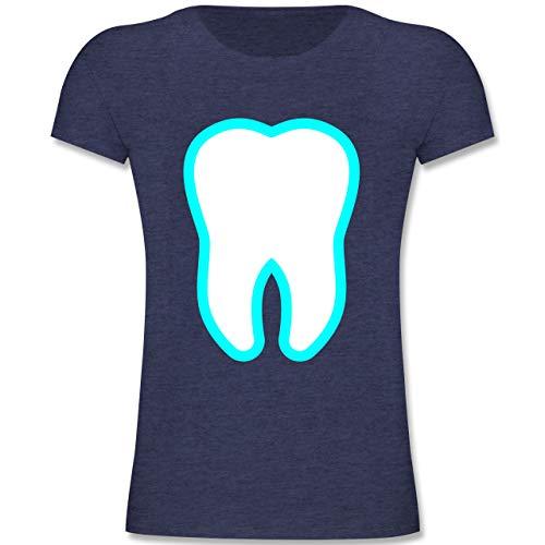 Fee Zahn Kostüm Mann - Karneval & Fasching Kinder - Farbiger Zahn - Zahnfee Kostüm - 152 (12-13 Jahre) - Dunkelblau Meliert - F131K - Mädchen Kinder T-Shirt