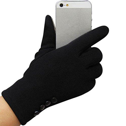 RETUROM nuevo estilo mujeres de la manera de la pantalla táctil de invierno al aire libre del deporte guantes calientes (Negro)