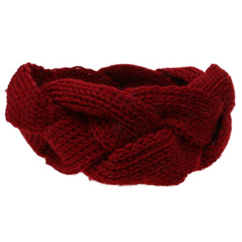 Phenovo Lady Mädchen Fashion Crochet Turban Strick Gestricktes Stirnband headwrap Winter Ear wärmer Haar Bande - Weinrot