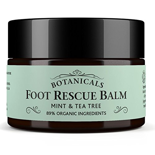 Foot Rescue Balm for Cracked Heels, Very Dry Skin & Athletes Foot Cream Treatment – 100% Natural and Certified Organic, Chemical Free Safe for Diabetics, Mint & Tea Tree