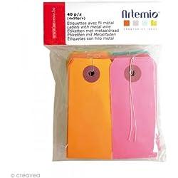 Artemio 40 étiquettes de couleur avec fil métallique