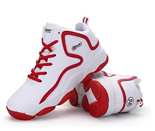 WZG Die neue Frühjahr Herrenmode High-Top-Basketballschuhe, Freizeitschuhe atmungsaktive Polsterung Schuhe paar Modelle Sportschuhe white red