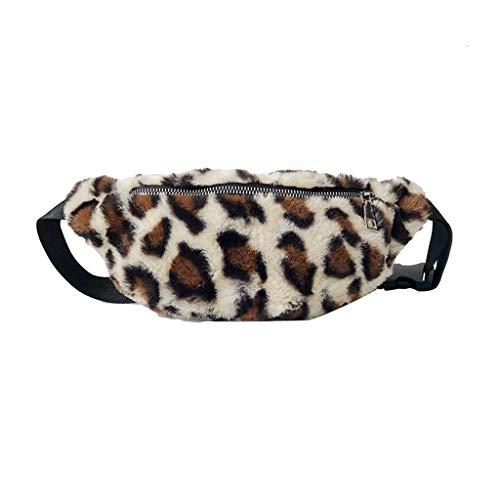 YO-HAPPY Riñonera para Mujer Bolsa para teléfono Cintura de Leopardo Riñonera Bolsa Hombro Crossbody Monedero de Bolsillo