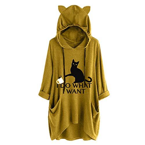 GreatestPAK Damen Katzenohren Dekorativer Kapuzenpullover Langarm Taschen Unregelmäßig Oberteile Lässig Bluse Cartoon Cat Druck T-Shirt,Gelb,3XL