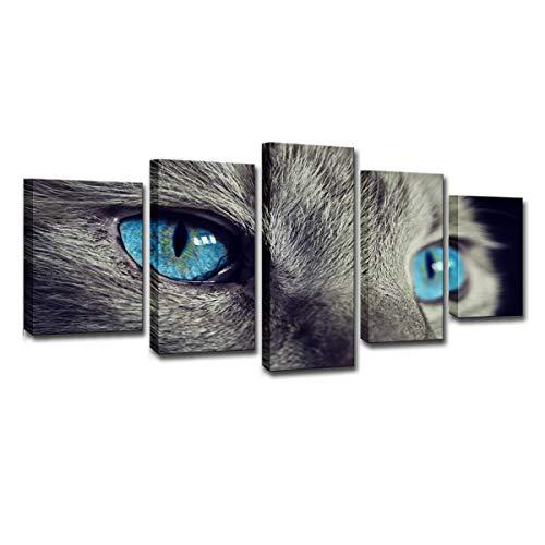 Leinwand Gemälde Modulare Wandkunst Poster, 5 Stück Schöne Tier Blaue Augen Katze, Bilder für Wohnzimmer Wohnkultur,Frame,XL ()