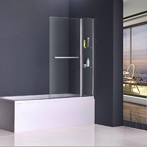 100x140cm Duschabtrennung Badewannenfaltwand Duschwand Badewannenaufsatz Sicherheitsglas mit Handtuchhalter Eckregal