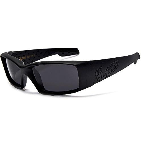 moda Gangsta Shades Locs Hardcore-Platz Inset dunkle Objektiv Sonnenbrillen 1 55mm dunkler Rauch regulär Matte Black/Dark