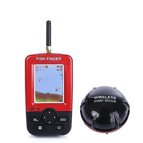 NEWBEN Echos Sondeurs et Détecteurs Portable Rechargeable Détecteur de Poissons avec Capteur de Sonar sans Fil Technologie Ultrason Fish Finder LED Écran Alarme de Pêche Matrice de Points 45m