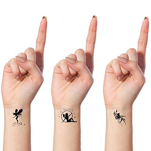 Tatouages Éphémères Bling Art Planche Anges Démons Noir de 10 Tatouage Femmes RU