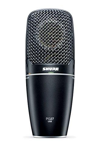 Shure PG27-USB, micrófono de condensador de captación lateral, plug and play, reproducción natural, previo integrado con control de ganancia microfónica, monitorización de latencia cero, jack de auriculares.