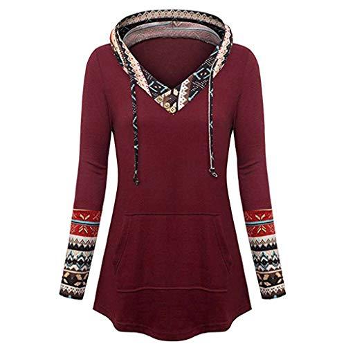 TOPKEAL Damen Jacke Mantel Herbst Winter Sweatshirt Steppjacke Kapuzenjacke Frauen Druckknopf Tasche Langarm Hoodie Pullover Outwear Coats Tops Mode 2019 (WeinRot, M)