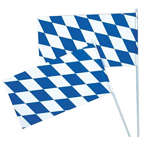 Papierfahnen weiss/blau Rauten