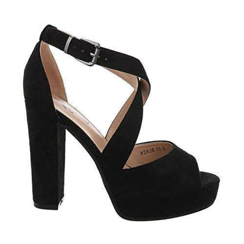 Damen Riemchen Abend Sandaletten High Heels Pumps Slingbacks Velours Peep Toes Party Schuhe Bequem B67 (39, Schwarz) Sexy Schwarze Peep-toe-heels