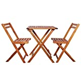 yorten Set da Bistrot Pieghevole 3 pz Include Tavolo Pieghevole e Sedie Pieghevoli in Legno Massello di Acacia Giardino Balcone Patio