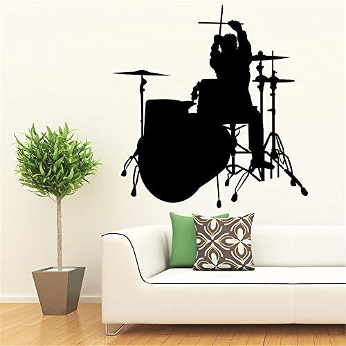 Trommel Schlagen Musik Wandaufkleber für Kinderzimmer Schlafzimmer Home Deocr Wandkunst Aufkleber Wandbild Dekorative Stikcers gelb L43 cm X 44 cm