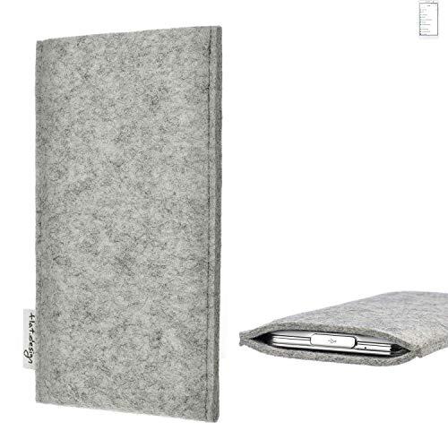 flat.design Handy Hülle Porto für Doogee Y6 MAX maßgefertigte Handytasche Filz Tasche Schutz Case fair grau