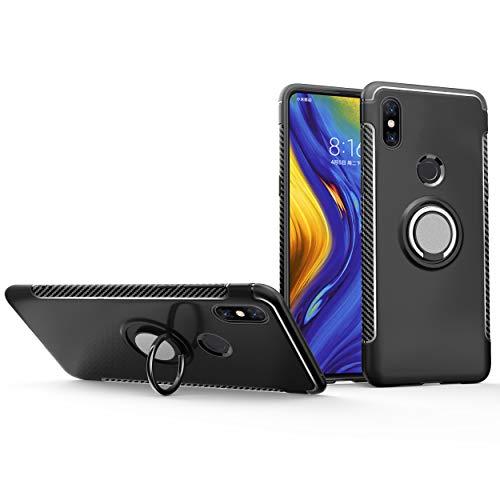 Botongda Funda Xiaomi Mi Mix 3,Cubierta de protección Antideslizante a Prueba de Golpes,Soporte de Anillo Giratorio de Metal Giratorio de 360 Grados para Xiaomi Mi Mix 3-Negro