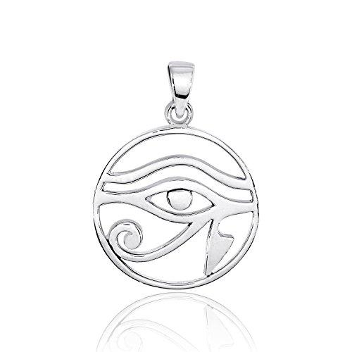 sistrakno plata de ley 925ojo de Horus Wedjat dioses egipcio símbolo de protección Royal alimentación y buena salud en forma redonda colgante