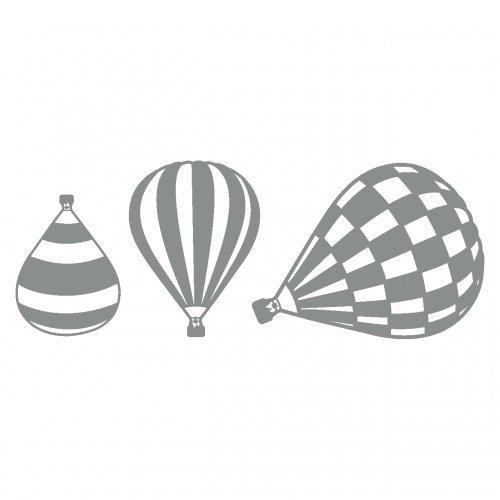 plot4u Heißluftballon Wandtattoo Ballon 3er Set in 6 Größen und 19 Farben (25x9,4cm mittelgrau)
