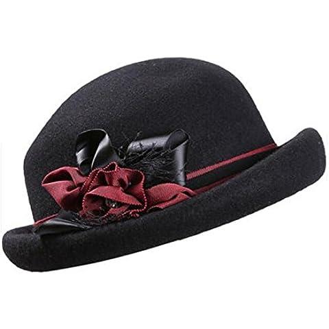 WE&ZHE Cappello in feltro di lana femminile Bowler marea cupola Retro Inghilterra tenere caldo autunno e inverno profondo rosso, nero , black