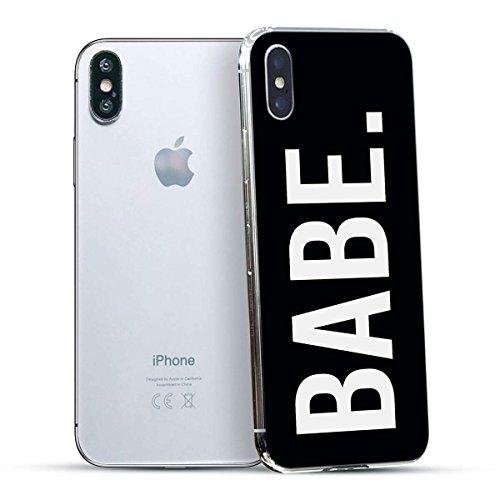 finoo | Iphone X Hard Case Handy-Hülle mit Motiv | dünne stoßfeste Schutz-Cover Tasche in Premium Qualität | Premium Case für Dein Smartphone| Love Laugh Live Babe Black