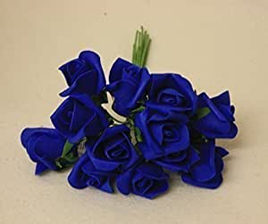 fleurs artificielles rose mousse bleu royale pour mariage cakes bouquet x12 cuisine. Black Bedroom Furniture Sets. Home Design Ideas