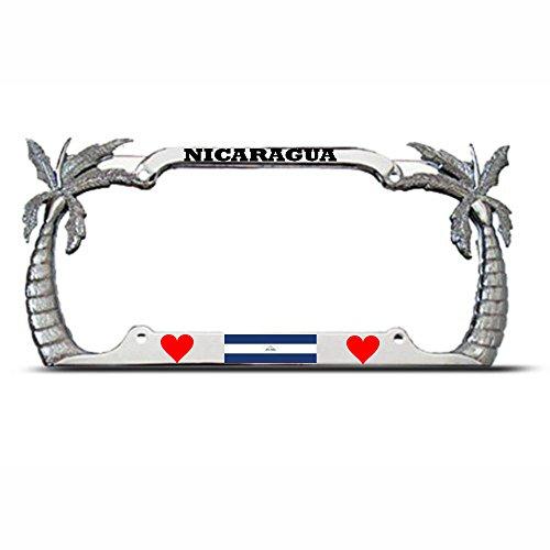 Mond Nicaragua Palme Chrom Tropische Nummernschild Rahmen Nicaraguan Flagge Auto Tag perfekt für Männer Frauen Auto Garadge Dekor (Nummernschild Sts)