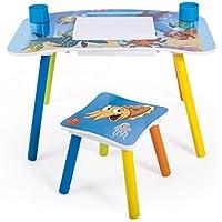 Preisvergleich für Homestyle4u 1122 Kindersitzgruppe Meer Fische, Kindermöbel Set aus 1 Kindertisch und 1 Hocker Papierrolle, Holz Blau 43 x 43 x 73
