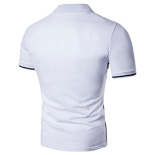 BicRad Herren Polo Shirts Baumwolle Regular Fit Gr. S - XXL Weiß-Schwarz