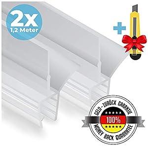 2x Junta de goma de repuesto para cabina de ducha 2×120 cm + CUCHILLO GRATIS | Anti pulverización | Junta para puerta de ducha de vidrio de 6/7/8 mm de espesor | Hidrófugo