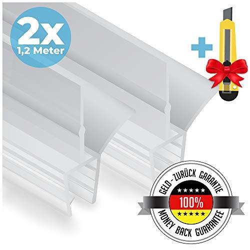 Premium Duschtür Dichtung 2 x 120 cm - Mit verlängerten Gummilippen für trockenen Boden im Bad - Glastür Duschdichtung für 6mm, 7mm, 8mm Glasdicke - Duschleiste für Duschkabine mit Wasserabweiser -