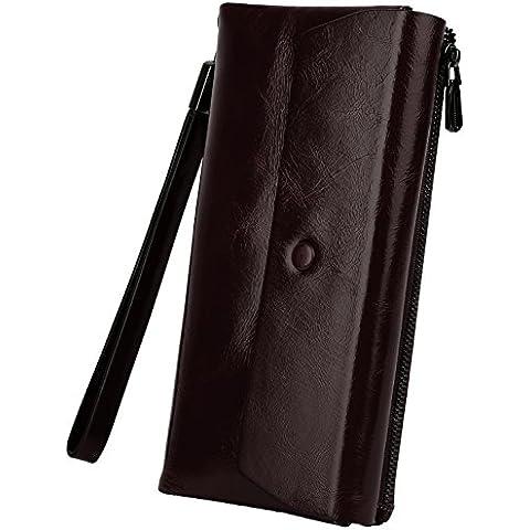 Yaluxe Mujer Lujoso Cuero Genuino Encerado Ranura De Tarjeta Con Zipper Monedero Billetera Con Llavero (Caja De
