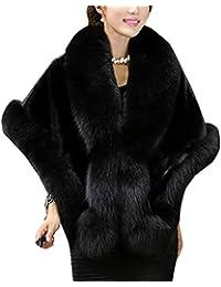 LaoZanA Mujer Chal Estola Capa De Piel Sintética Invierno para Fiesta Bodas Novia Negro