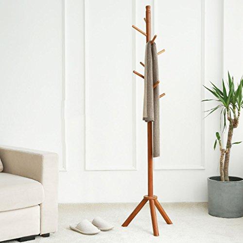 LYM Stehender Huthänger Boden Bamboo Coats Rack, Lande Kleiderbügel Startseite 8 Haken Hanging Frame Assembly Corner Shelf ( Farbe : B , größe : 173*40CM )